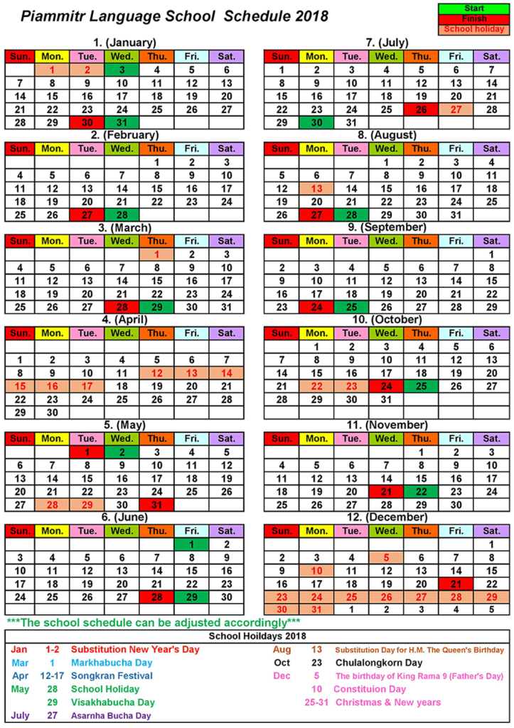 Piammitr Language School schedule 2018