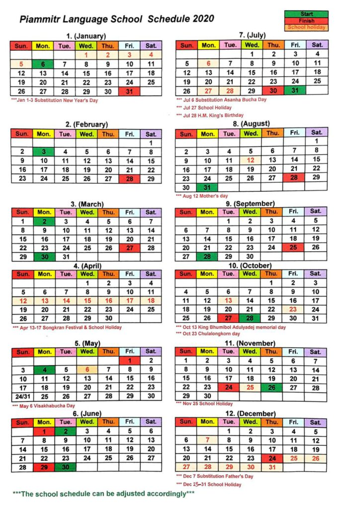Piammitr Language School schedule 2020